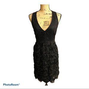Nanette Lepore Dress Black Rosette V Neck Size 12